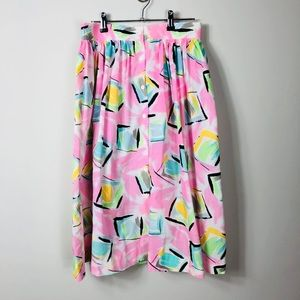 Vintage 1980s Colorful High Waist Midi Skirt 10